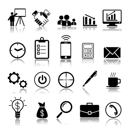 silhouette managerial icons and elements shaking hands, charts, pen, coffee on white background Vector