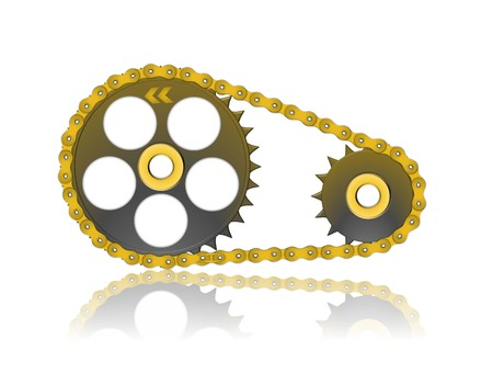 metalic golden gearwheel and chain isolated on white background