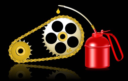 oilcan: lubricating gearwheel and chain by red oiler on black backgound