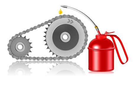 oilcan: maintenance concept illustration lubricating gearwheel and chain by red oiler