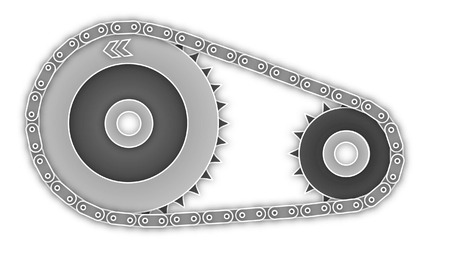 meshing: gearwheels and chain illustration outlined on white background