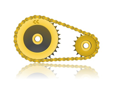 3d golden gearwheel and chain illustration reflected on white background Illustration