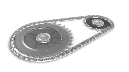 meshing: 3d transparent glass gearwheel and chain