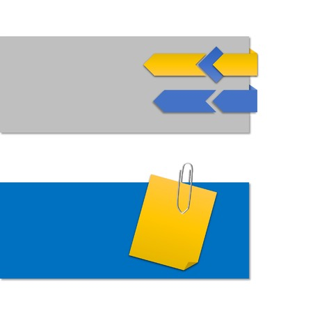 paper clip: header by yellow note paper and clip and arrow