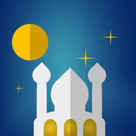 iranian: mosque in starry night background illustration Illustration