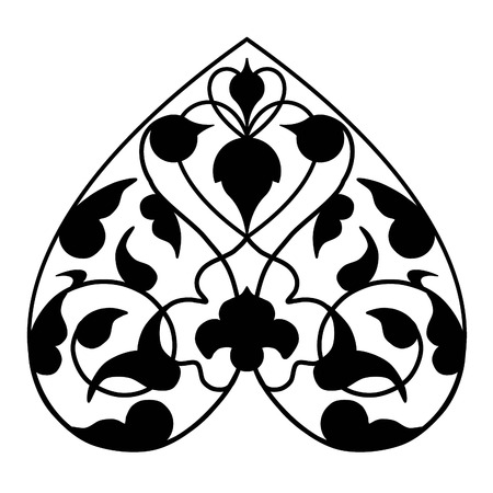 a sprig: sihouette persian heart shape paisley sprig