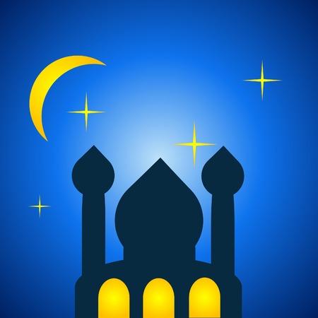 ramazan: mosque in a starry dawn of ramazan night