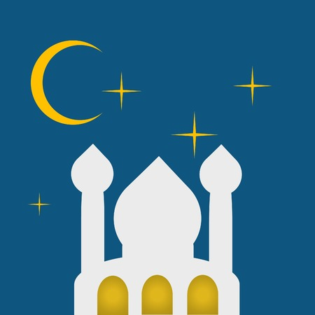 night background: mosque in metalic night background illustration