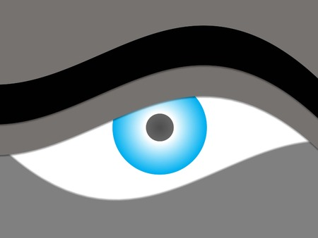 blue abstract eye and eyebrow  Illustration