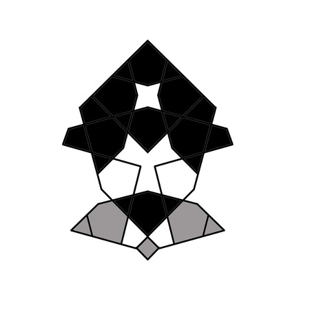 man with a goatee: geometric goatee man icon with hat