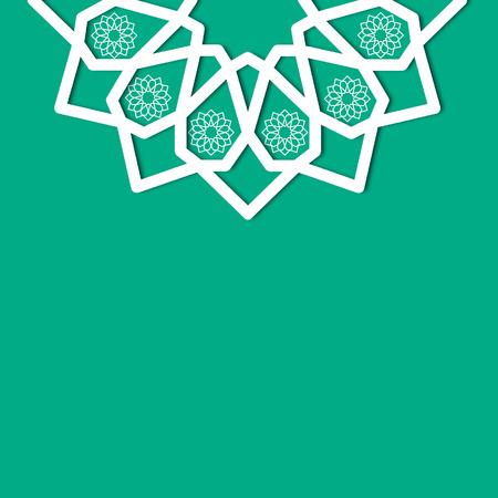 green islamic geometric floral ornament textbox