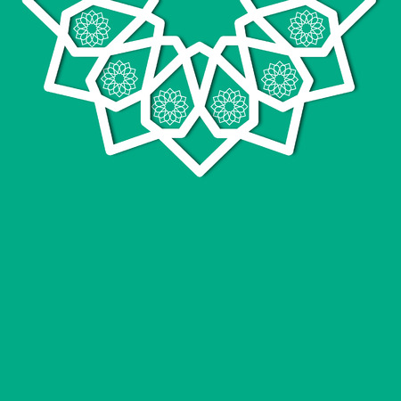 textbox: green islamic geometric floral ornament textbox