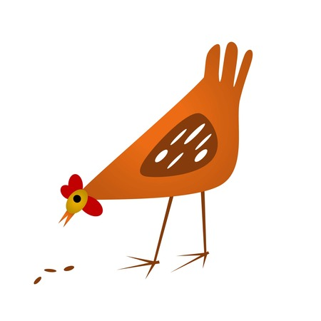 feed back: brown hen eating seed vector Illustration