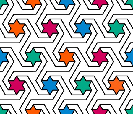 reticular: colourful geometric star pattern