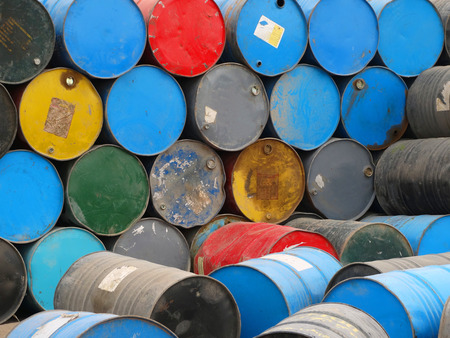 caused: messy barrels caused environmental pollution Stock Photo