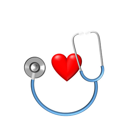 examination: stethoscope and heart illustration for medical examination