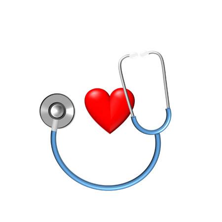 stethoscope and heart illustration for medical examination