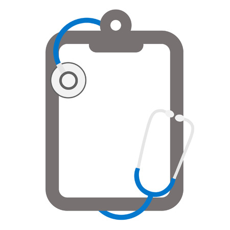 imperil: blue stethoscope and clipboard