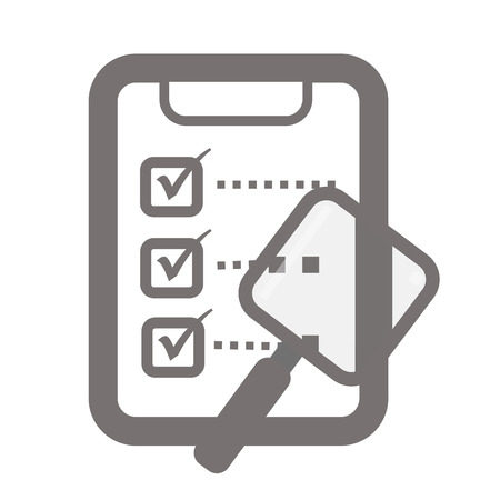 imperil: checklist and magnifier and clipboard Illustration