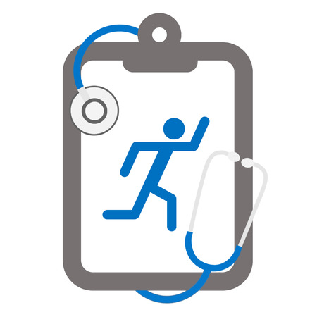 hearing protection: stethoscope and clipboard with a running man Illustration