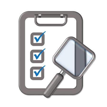 hazardous imperil: clipboard and rectangle magnifier symbolizing survey Illustration