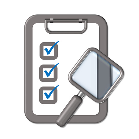 clipboard and rectangle magnifier symbolizing survey Illustration