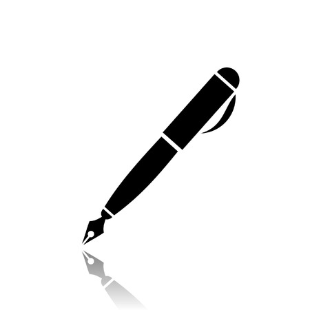 signing papers: black and white fountain pen icon Illustration