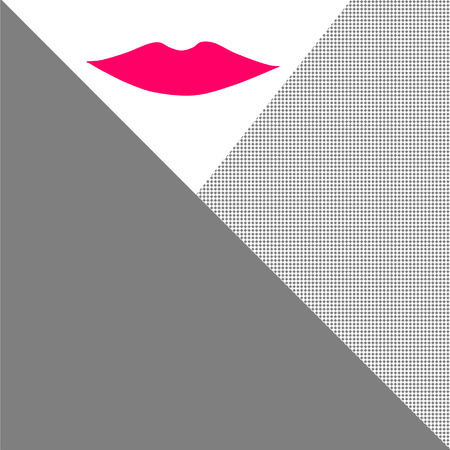 kissing lips: abstract pattern and red lip in corner Illustration