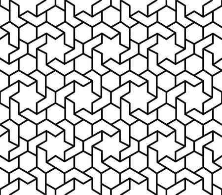 흑백 이슬람 기하학적 패턴 배경 일러스트