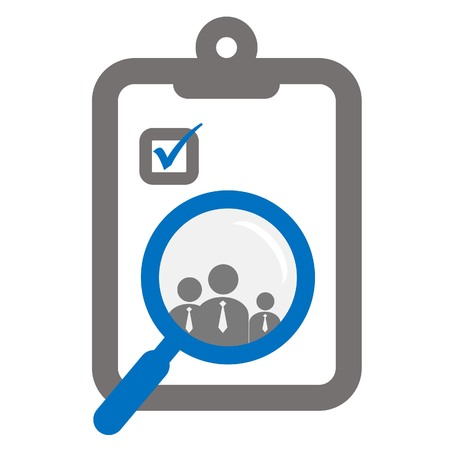 harm: clipboard and magnifier focused on employees or human resources assessment icon