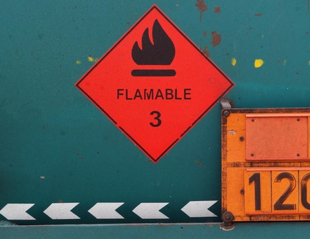 flammable: flammable sign labeled on a tank Stock Photo