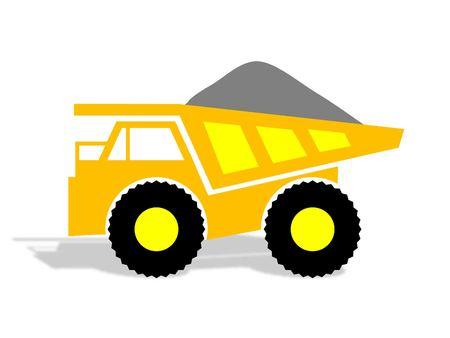 camion minero: Amarillo Cami�n de Miner�a con la carga