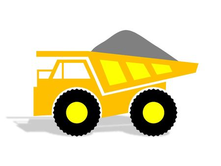 iron ore: Yellow Mining Truck with load