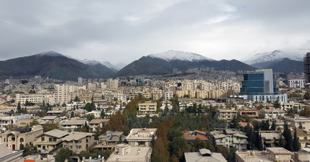 uptown: aerial view of tehran city capital of iran Stock Photo