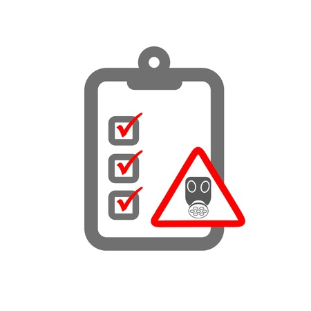 gas mask warning sign: chemical risk assessment symbloizing clipboard and gas mask hazard sign and checklist