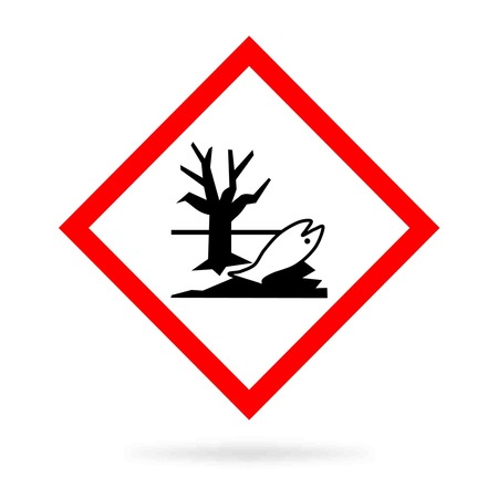 exclaim: environmental hazard sign or ecotoxic showing a dead fish and sear tree