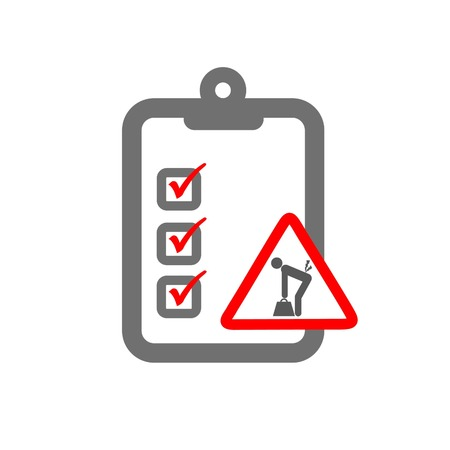 ergonomic hazard assessment symbolizing clipboard and load lifiting sign Иллюстрация