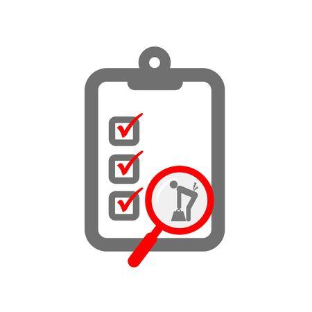Valutazione del rischio ergonomico simboleggia lente d'ingrandimento e appunti e sollevamento del carico Archivio Fotografico - 48145805