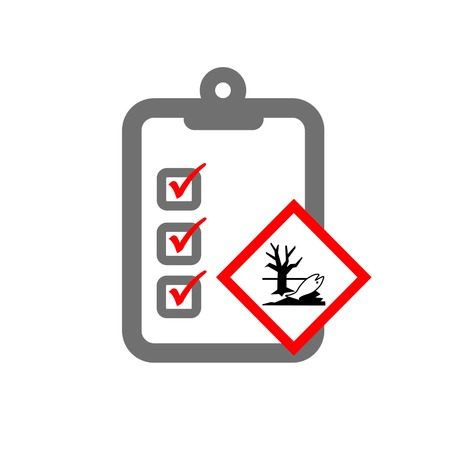 imperil: environmental risk assessment symbolizing clipboard and ecotoxic hazard sign