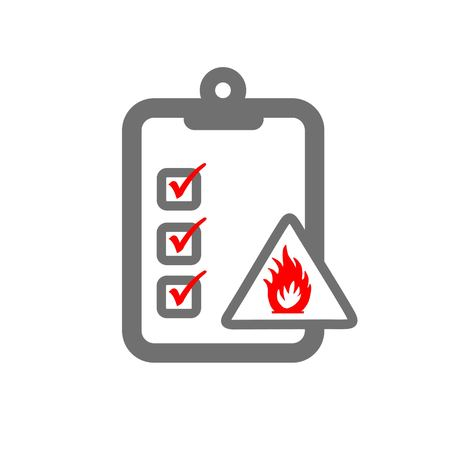 fire hazard assessment symbloizing clipboard and fire risk sign