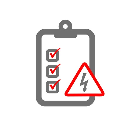 imperil: electrical risk assessment symbloizing clipboard and electrical hazard sign