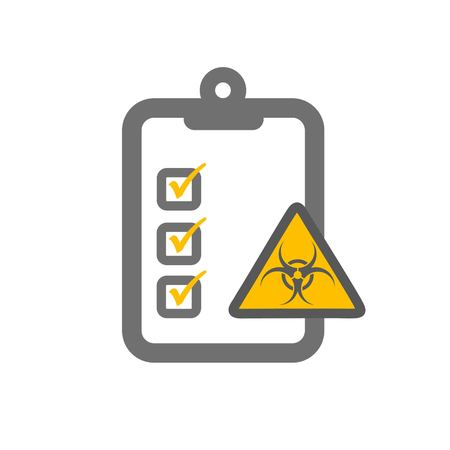 imperil: radioactive risk assessment symbloizing clipboard and radiactive hazard sign and checklist