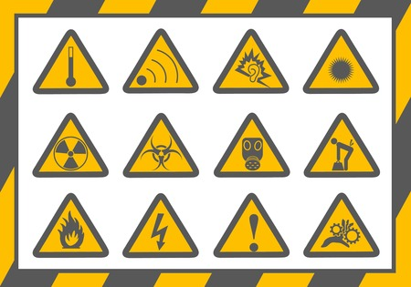 set of occupational hazards signs