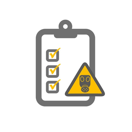 hazardous imperil: chemical risk assessment symbloizing clipboard and gas mask sign and checklist