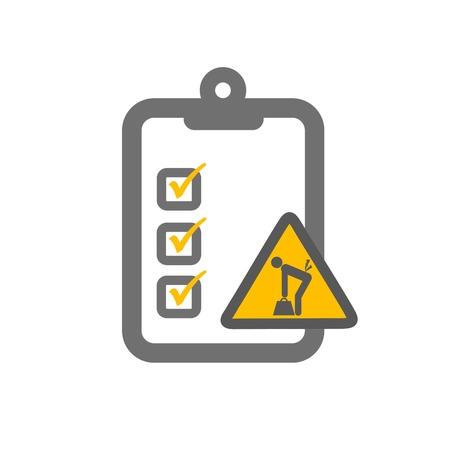 ergonomic: ergonomic risk assessment symbolizing clipboard and load lifiting sign