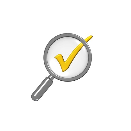 evaluating: accuracy assessment concept with magnifier and check sign