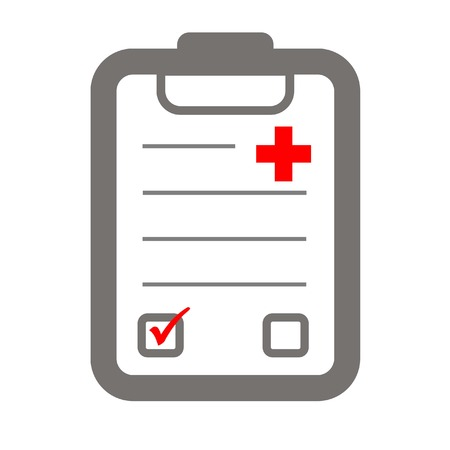 health check: health check icon symbolizing clipboard and red cross or plus