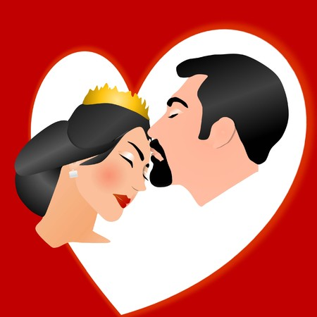 loving: Bride and groom in Romantic scene of kissing cartoon, wedding, bride Illustration
