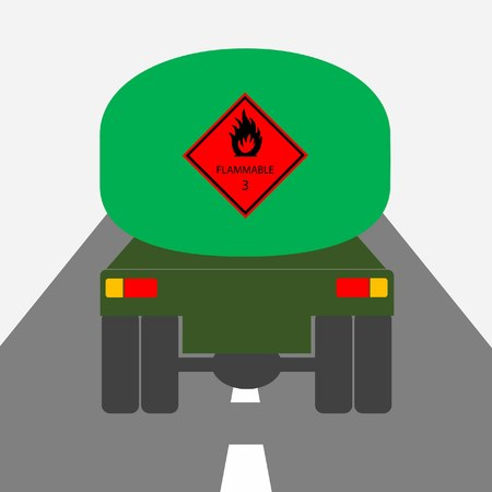 truckload: fuel tanker truck and flammable hazard sign from rearward view
