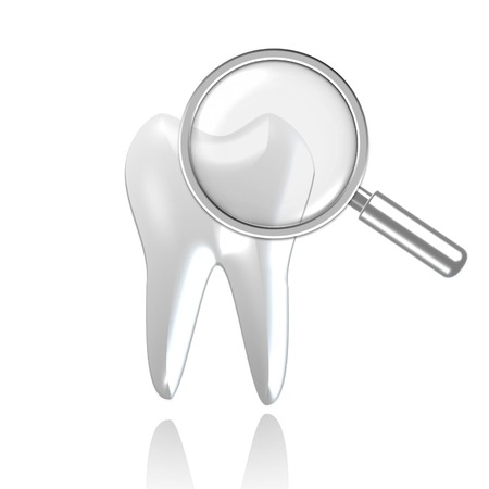 fillings: ooth health examination symbolizing magnifier and tooth